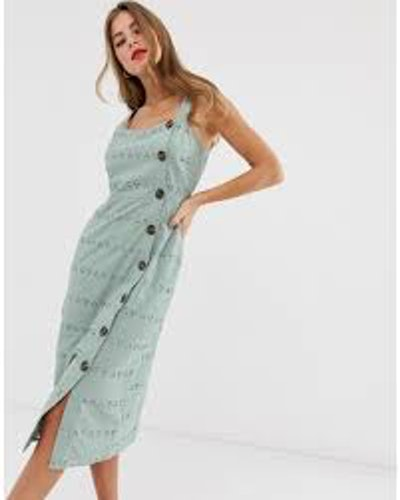 Midi Dress in Palm Broderie