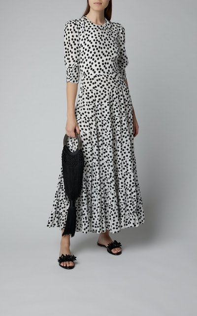 Agyness Polka-Dot Cotton Maxi Dress