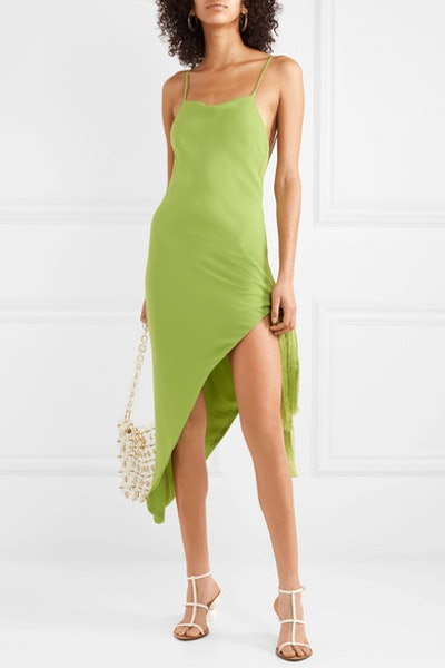 Giselle Asymmetric Tasseled Crepe Midi Dress
