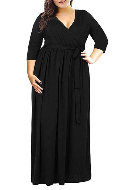 Nemidor Women's 3/4 Sleeve Floral Print Plus Size Casual Party Maxi Dress