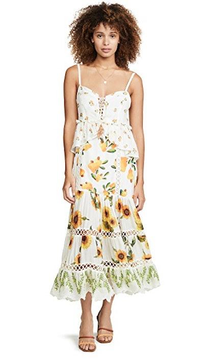 FARM Rio Sunflower Mix Print Dress