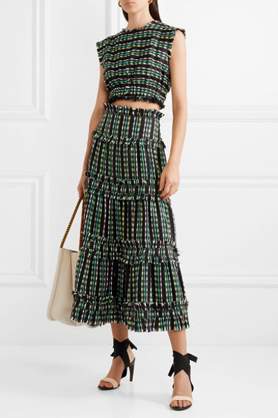 Cropped Tweed Top & Tiered Maxi Skirt