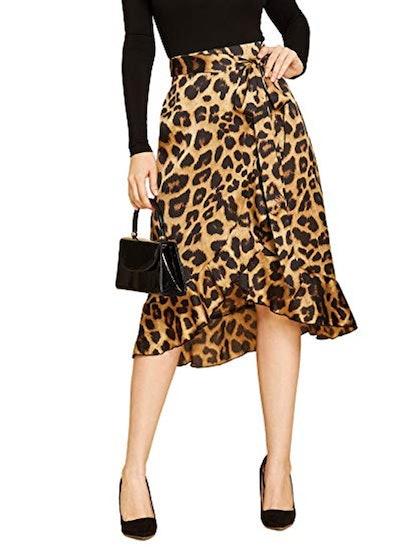 SheIn Leopard Print Ruffled Wrap Skirt