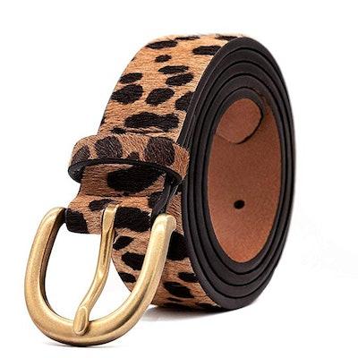 LOKLIK Womens Leopard Print Leather Belt