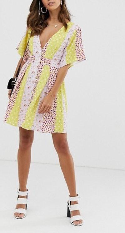 Skylar Rose Tea Dress In Contrast Floral Print With Open Back