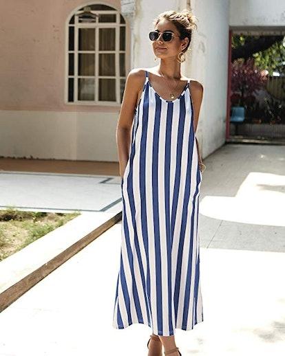 PRETTYGARDEN Striped Maxi Dress