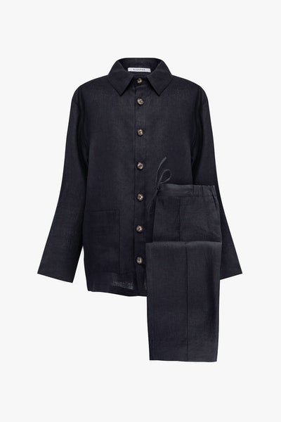 Coal Black Unisex Pajama Set with Pants