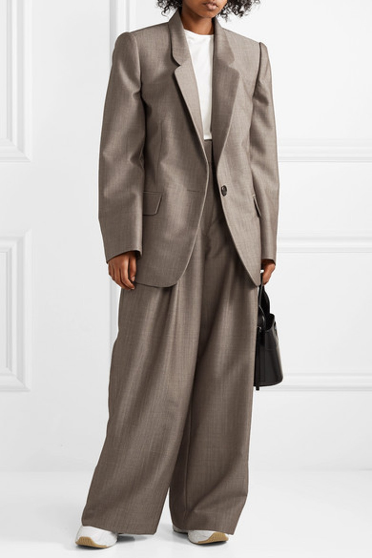 Wool and Mohair-Blend Wide Leg Pants