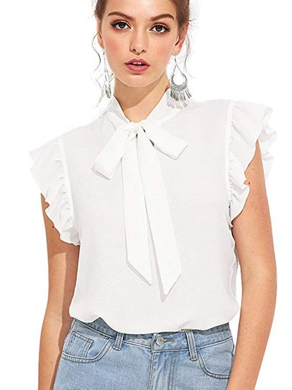 Romwe Women's Casual Short Sleeve Ruffle Bow Tie Blouse Top Shirts