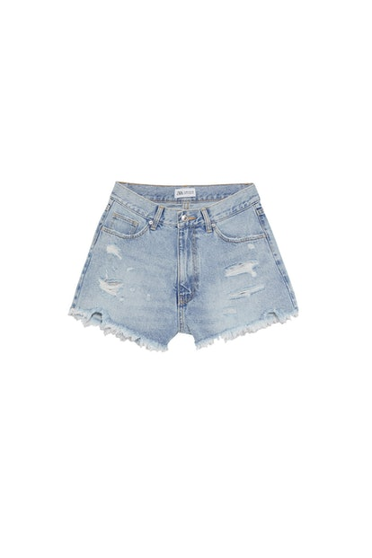 Edited Hi-Rise Denim Shorts With Rips