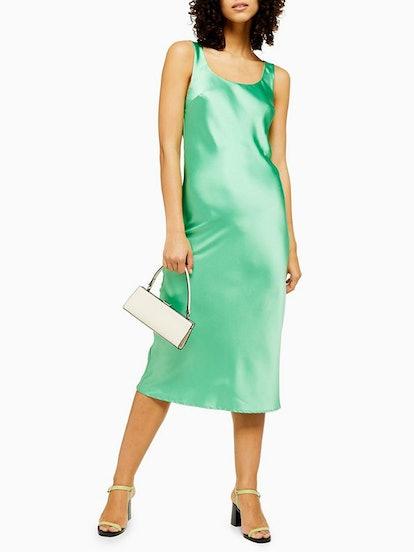 Green Built Up Slip Dress