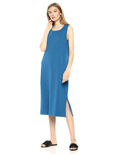 Daily Ritual Women's Lived-in Cotton Muscle-Sleeve Midi Dress