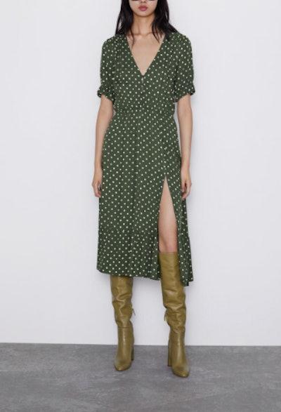 Polka Dot Print Dress with Slit