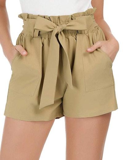 GRACE KARIN Women Bowknot Tie Waist Summer Casual Shorts with Pockets