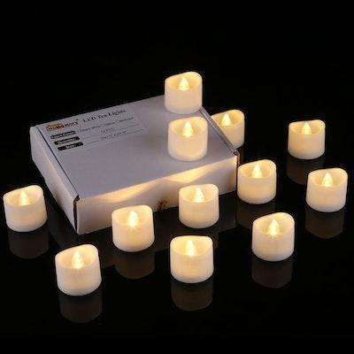 Homemory Flameless Flickering Tea Lights (12-Piece)