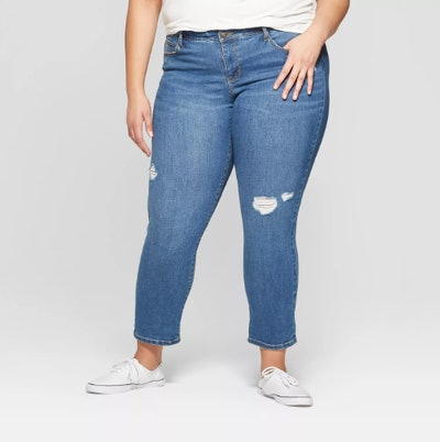 Ava & Viv Women's Plus Size Distressed Boyfriend Jeans
