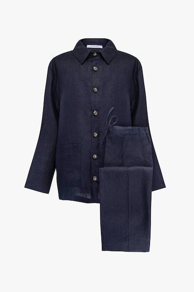 Navy Unisex Pajama Set with Pants