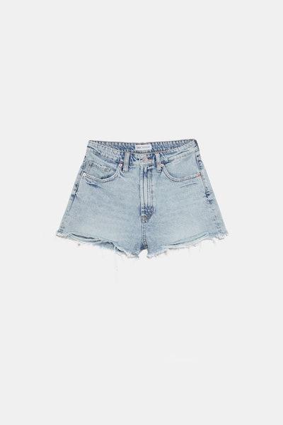 Edited Hi-Rise Denim Shorts