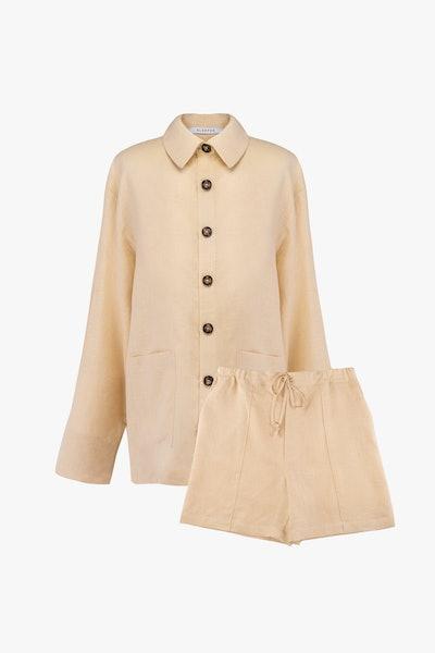Cream Linen Unisex Pajama Set with Shorts