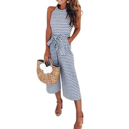 PRETTYGARDEN Women's Striped Sleeveless Romper
