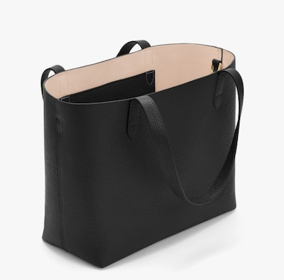 Small Structured Leather Tote - Black/Blush