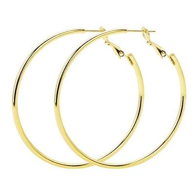 Rugewelry Gold Plated 925 Sterling Silver Hoop Earrings