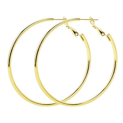 Rugewelry Gold Plated 925 Sterling Silver Hoop Earrings