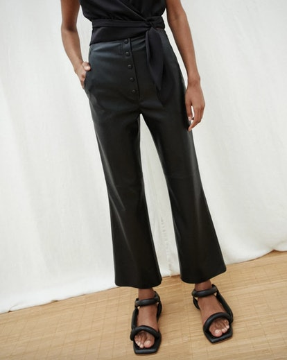Vegan Leather Flared Western Pants