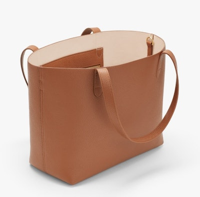 Small Structured Leather Tote - Caramel/Blush