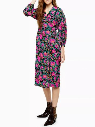 Bold Floral Wrap Dress