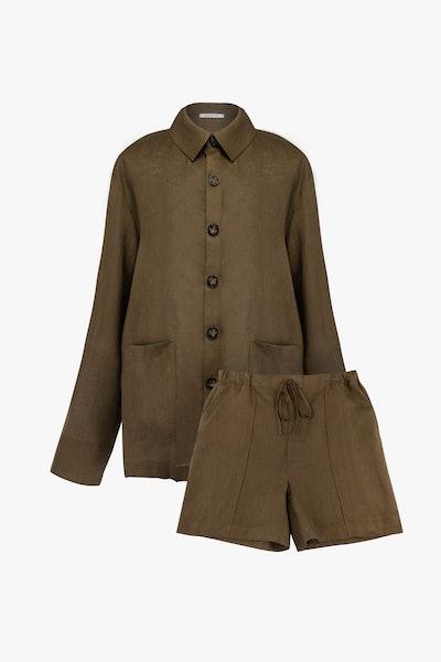 Unisex Sepia Linen Pajama Set with Shorts
