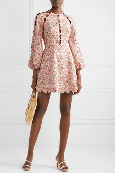 Goldie Cutout Floral-Print Linen and Cotton-Blend Mini Dress