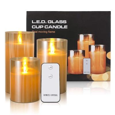 Kithouse LED Glass Jar Candles (3-Piece)