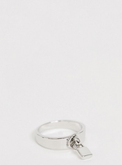 ASOS DESIGN Curve ring with padlock in silver tone