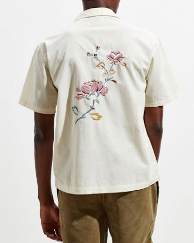 Embroidered Short Sleeve Button-Down Shirt
