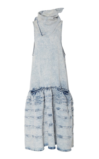 Scarf-Detailed Acid Wash Denim Dress