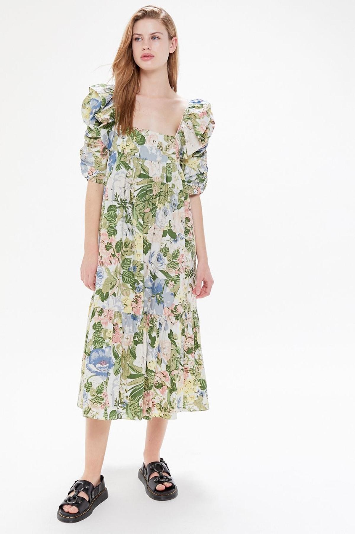 UO Off the Market Puff Sleeve Midi Dress
