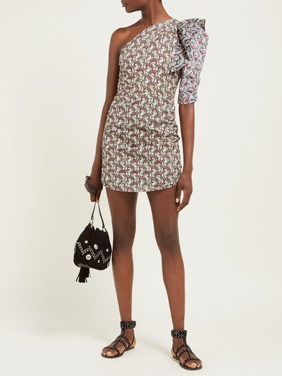 Liila Paisley-Print One-Shoulder Dress
