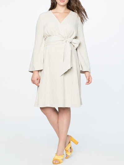Tie Waist Flare Sleeve Dress