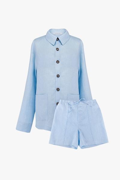 Azure Blue Linen Unisex Pajama Set with Shorts