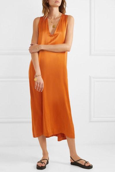 Washed-Silk Midi Dress