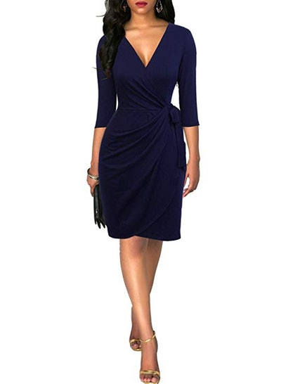 Berydress Women's Classic 3/4 Sleeve V Neck Sheath Wrap Dress