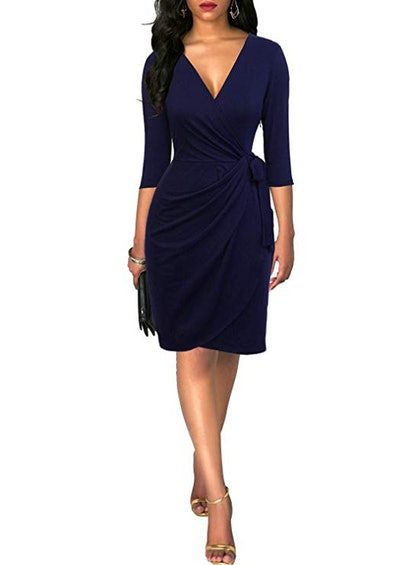 Berydress Women's Classic 3/4 Sleeve V Neck Sheath Wrap Dress