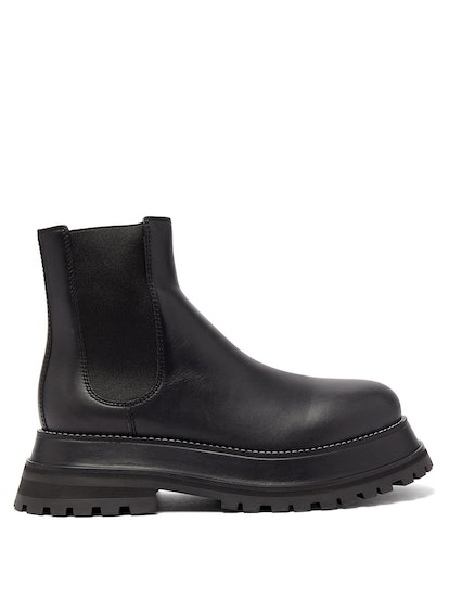 Chunky-Platform Leather Chelsea Boots