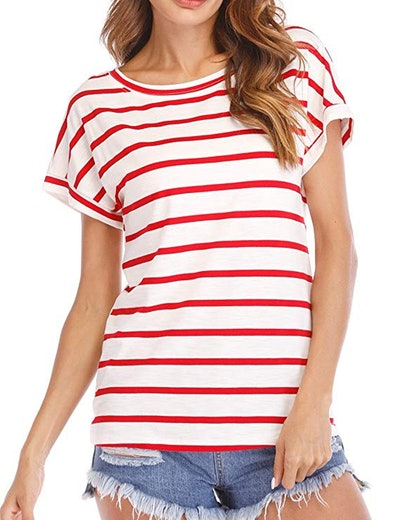 Haola Women's Striped Casual Round Neck Short Sleeve T-Shirt