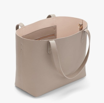 Small Structured Leather Tote - Stone/Blush