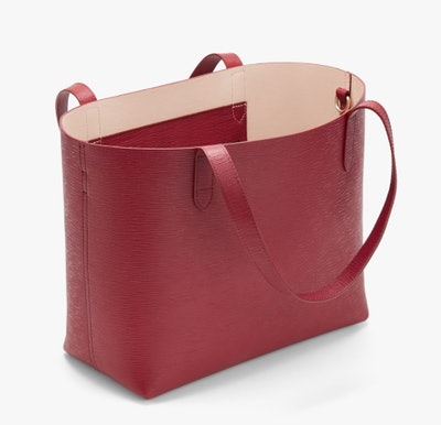 Small Structured Leather Tote - Red/Blush