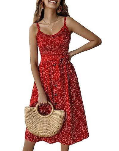 PRETTYGARDEN Spaghetti Strap Midi Dress