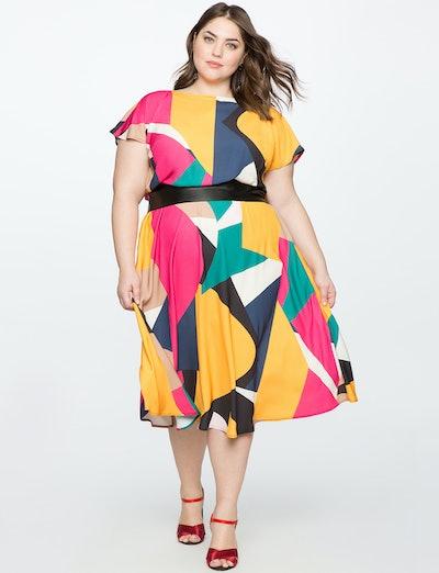 Printed Flutter Sleeve Dress