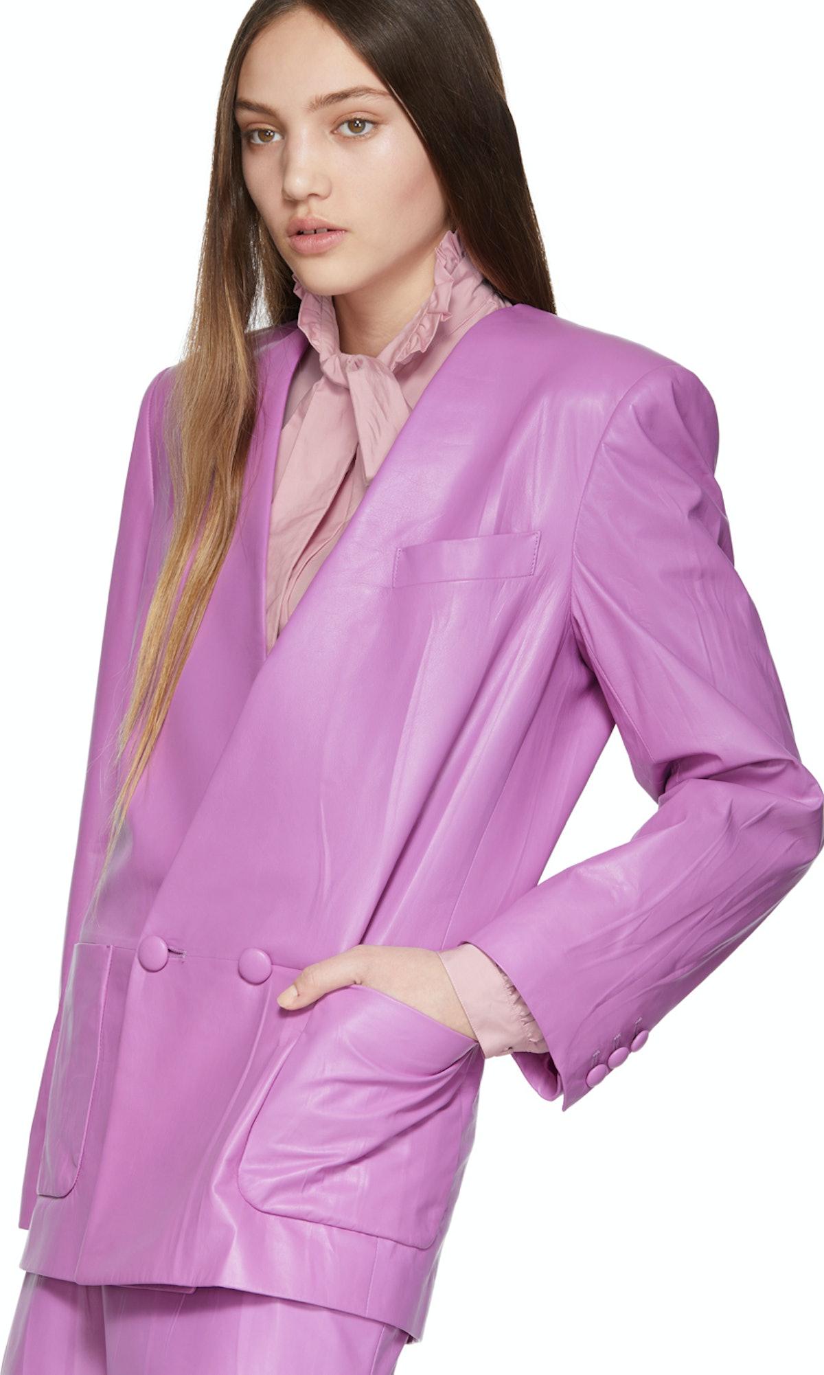 Purple Leather Oversize Jacket